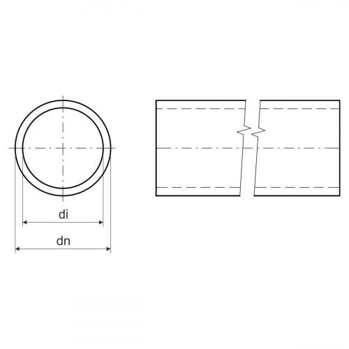 Безгалогенная раструбная жесткая гладкая труба - низкая меxаническая стойкость d50x2.5мм 320N PC-ABS, цвет светло-серый