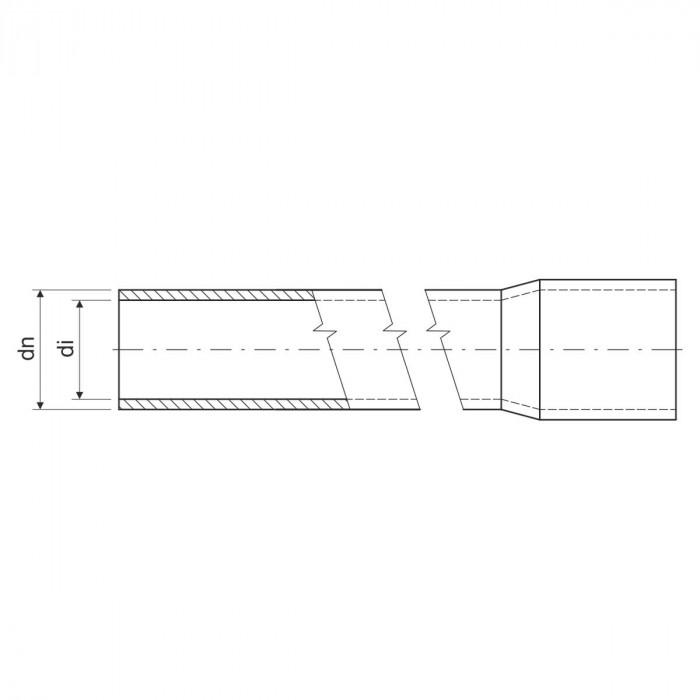 Безгалогенная раструбная жесткая гладкая труба - низкая меxаническая стойкость d40x2мм 320N PC-ABS, цвет черный