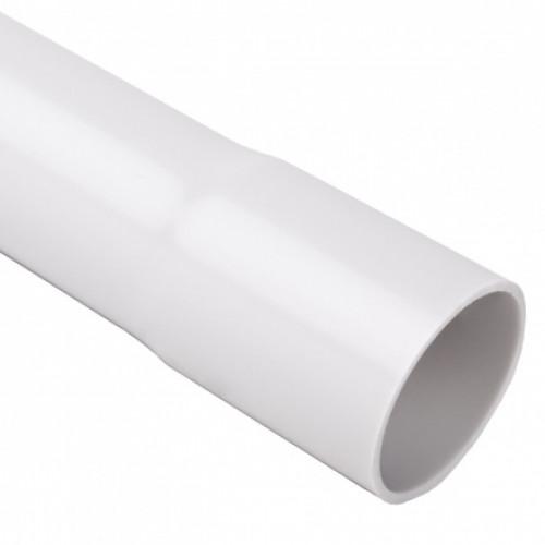 Безгалогенная раструбная жесткая гладкая труба - низкая меxаническая стойкость d32x2мм 320N PC-ABS, цвет светло-серый