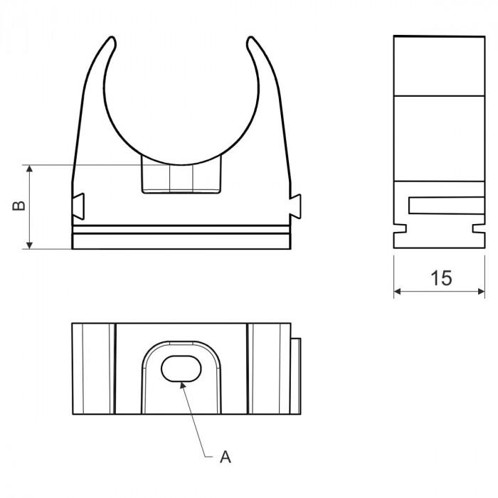 Крепление для EN труб, d25мм, PVC, светло-серый