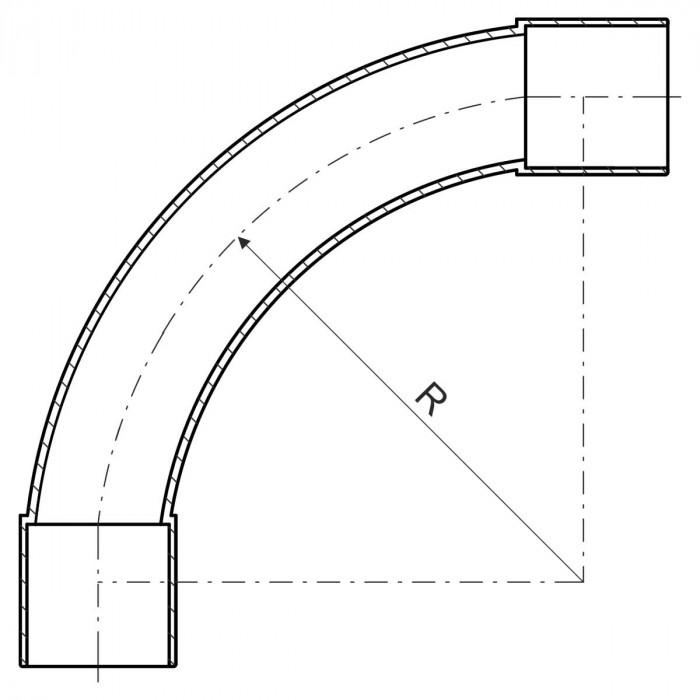 Поворот для безгалогенных EN труб, d25мм, PC-ABS, черный