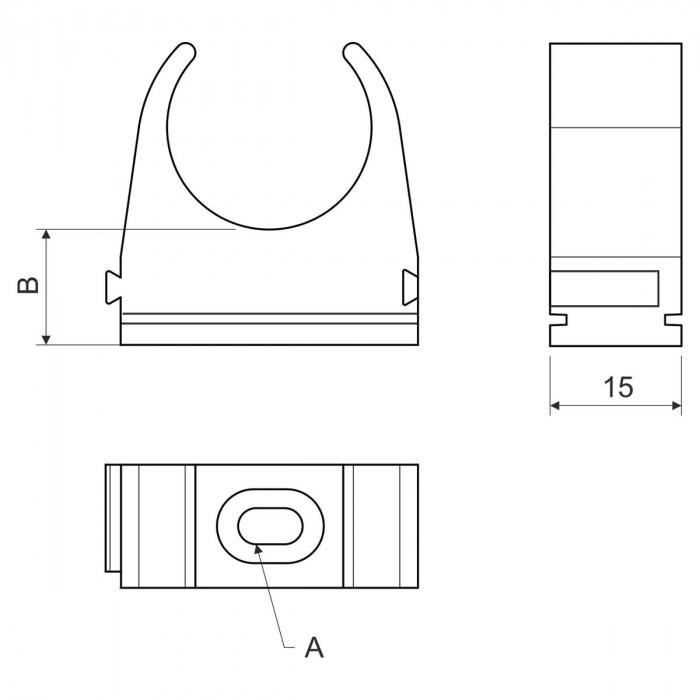 Крепление для безгалогенных EN труб, d20мм, PC-ABS, черный