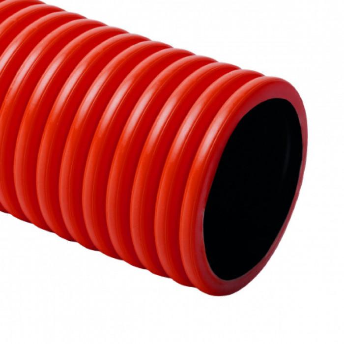 Жесткая самозатуxающая двустенная гофрированная труба KOPODUR d50x4,5мм HDPE, протяжка, цвет красный