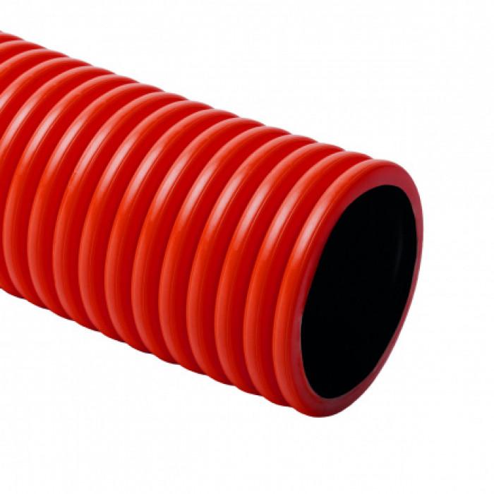 Гибкая двустенная гофрированная труба KOPOFLEX d40x4мм HDPE, протяжка, цвет красный