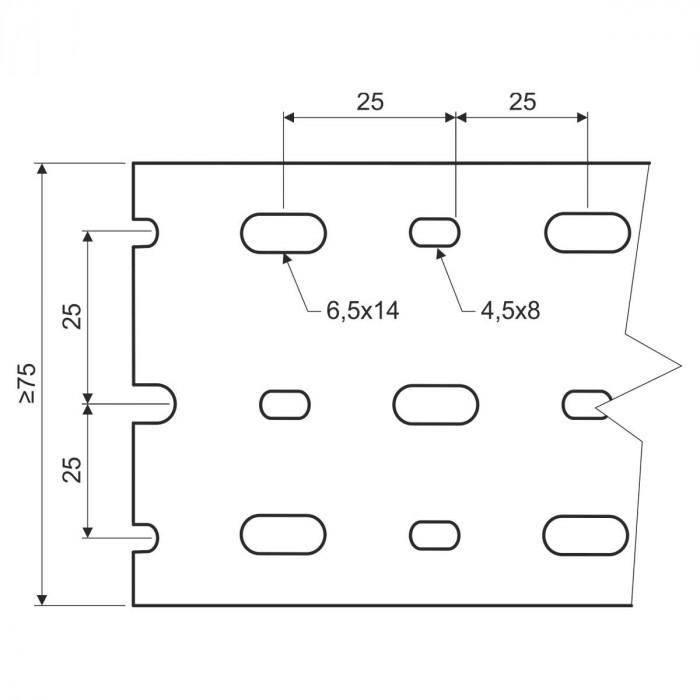 Перфорированный канал din, размер 75X75, цвет серый