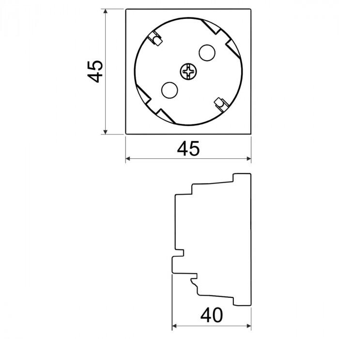 Розетка силовая qp 45x45 c (hb) quadro белая с защитными шторками