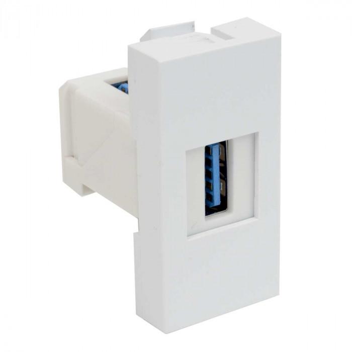 Модульная usb-розетка qd 45x22.5-usb quadro (hb) белая