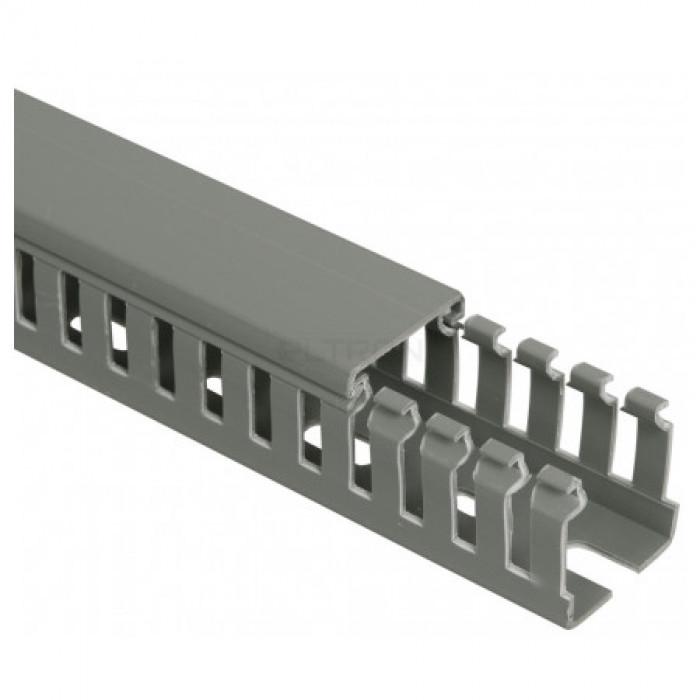 Кабель-канал перфорированный 25x25мм, серый, длина 2м.