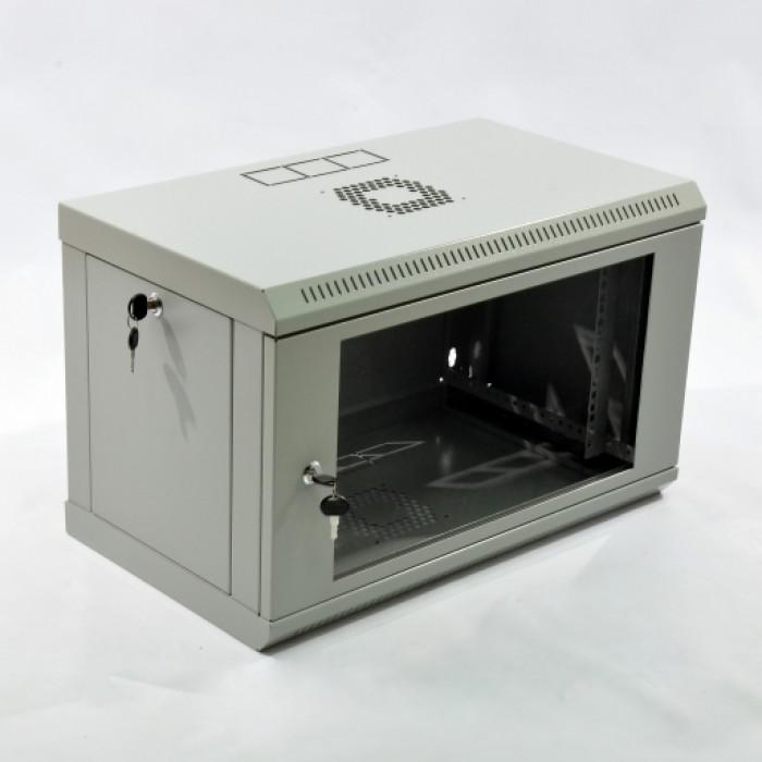 Шкаф 6U, 600х350х373мм (Ш*Г*В), эконом, акриловое стекло, серый.
