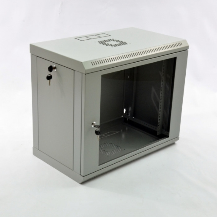 Шкаф 9U, 600х350х507мм (Ш*Г*В), эконом, акриловое стекло, серый.