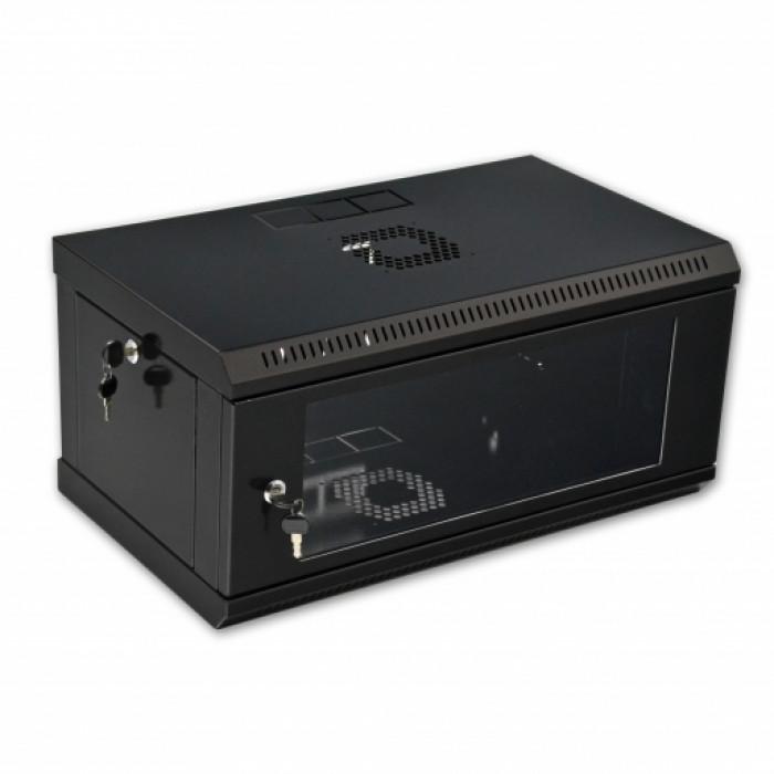 Шкаф 4U, 600х350х284мм (Ш*Г*В), эконом, акриловое стекло, черный.