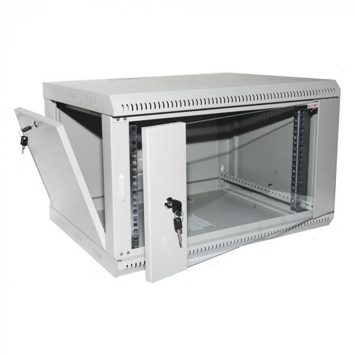 """Коммуникационный шкаф настенный 19"""" 6U, глубина 450мм, двери стекло, серый"""
