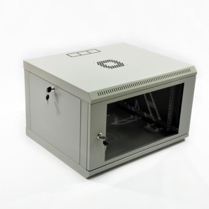 Шкаф 6U, 600х500х373мм (Ш*Г*В), эконом, акриловое стекло, серый.