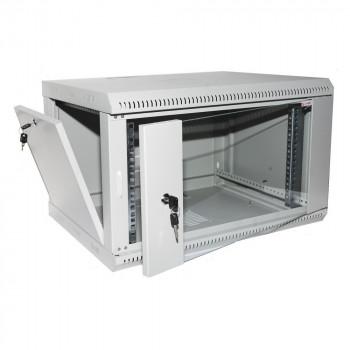 """Коммуникационный шкаф настенный 19"""" 12U, глубина 450мм, двери стекло, серый"""