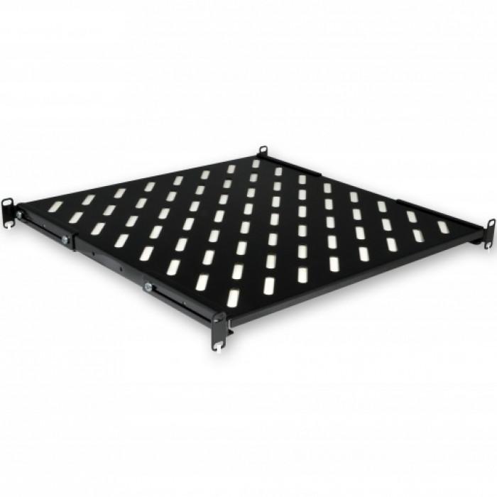 """Полка 19"""" 4 точки крепл. , 450мм глуб. , перфорированная , сталь , 1,5мм , черная ."""