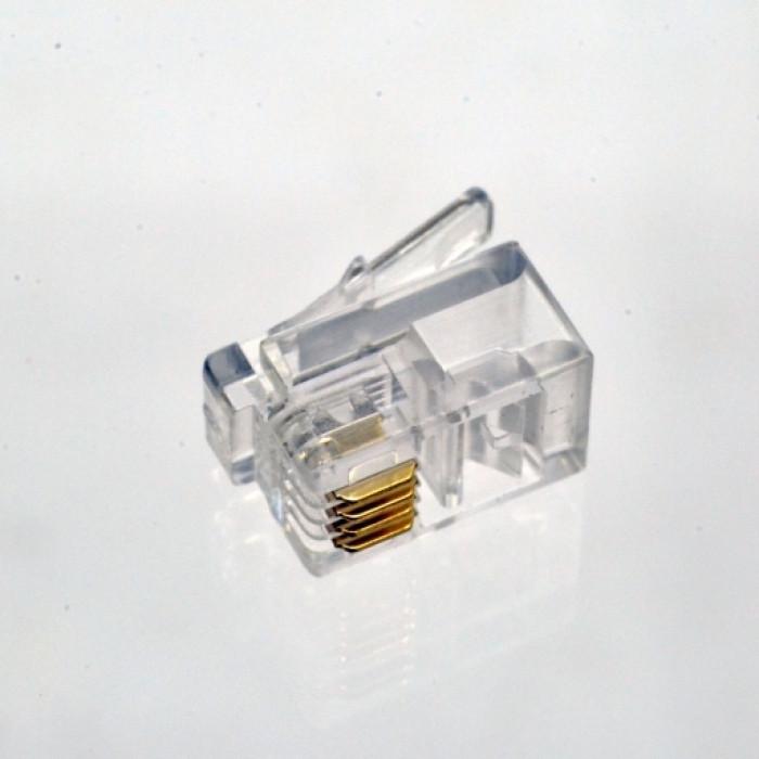 Коннектор телефонный RJ11, 4p4c.