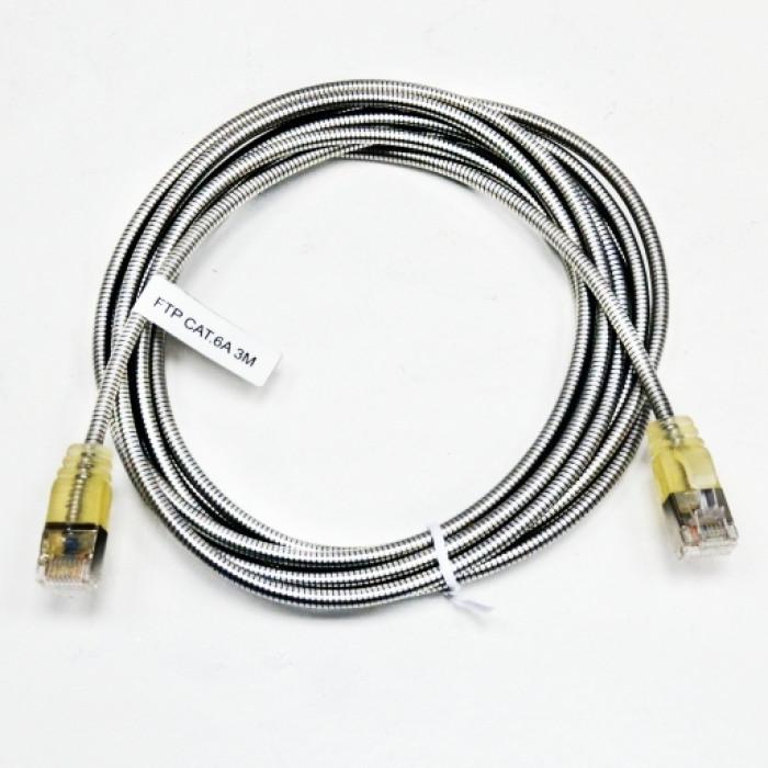 Патч-корд FTP, 3 м, кат. 6А, армированный, серебристый