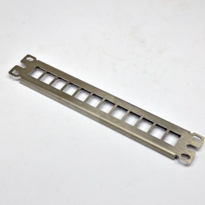 """Патч панель 10 """", 1U, для 12 модулей KeyStone (slim), нержавеющая сталь"""