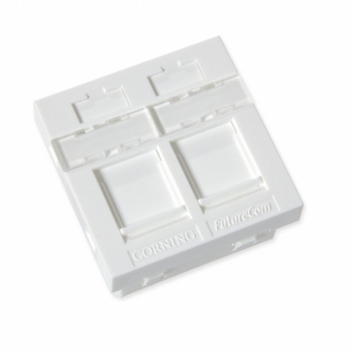 Пластина 45Х45 для 2-х модулей LANscape, со шторками, прямая, белая, Corning