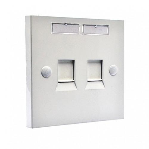 Рамка 86×86 под два модуля KeyStone, с шторкой, EPNew, белая