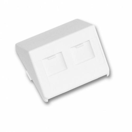 Пластина на 2 модуля LANScape, наклонная, с шторками, 50x50, белая, RAL9010, UK style
