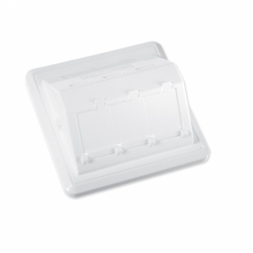 Пластина 80x80 на 3 модуля LANscape с рамкой, наклонная, выступ наружу, белая, RAL9010, Ge style, Corning