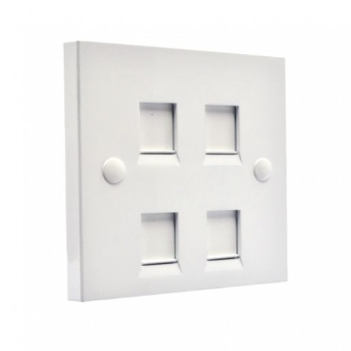 Рамка 86×86 под четыре модуля KeyStone, с шторкой, EPNew