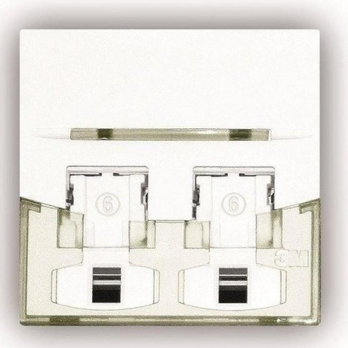 Лицевая панель для 2-х модулей RJ45, 45x45 мм, белая
