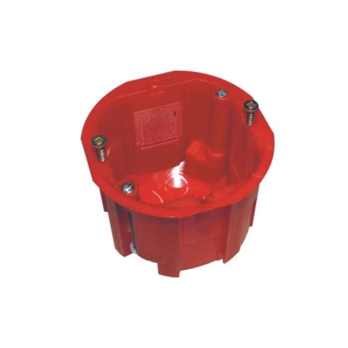 Подрозетник одиночный красный d67мм h40мм, гипсокартон, до 850 ºС, 50 шт уп.